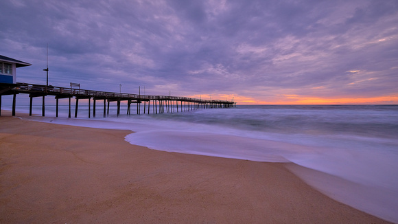 Avon Pier at sunrise, North Carolina, in the aftermath of Hurricane Sally