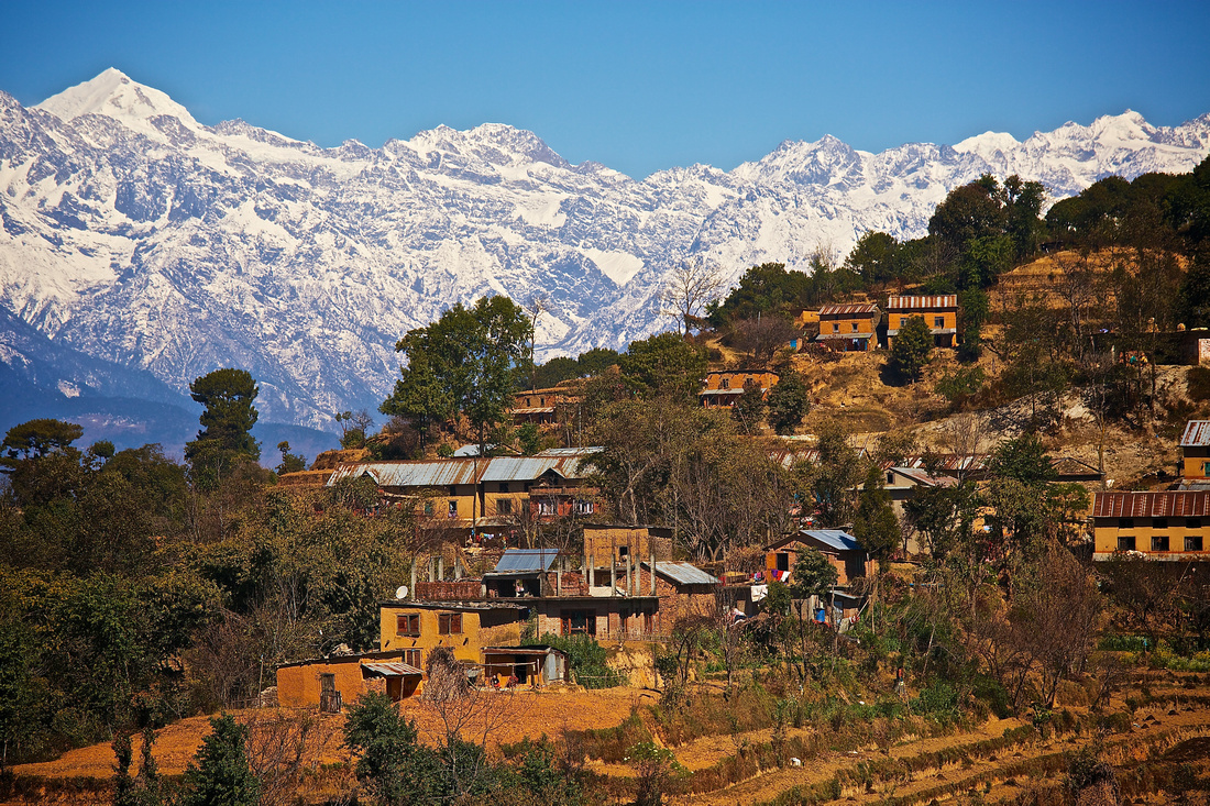 Nagarkot village in the shadow of the Himalayan Mountain range, Nepal